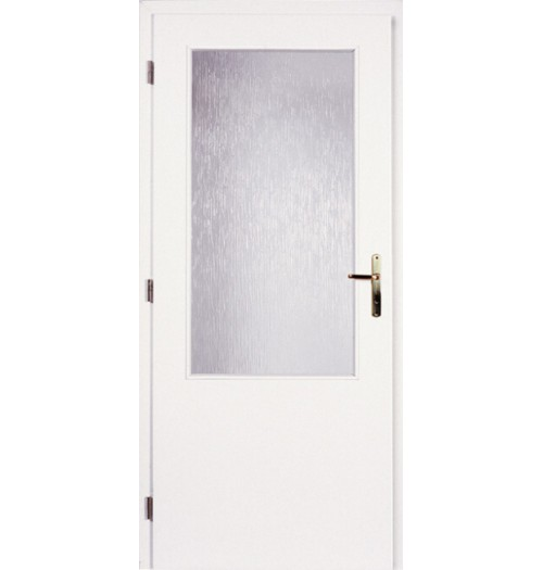 Masonite interiérové dveře sklo 2/3 hladké bílé, sklo kůra čirá 60 cm