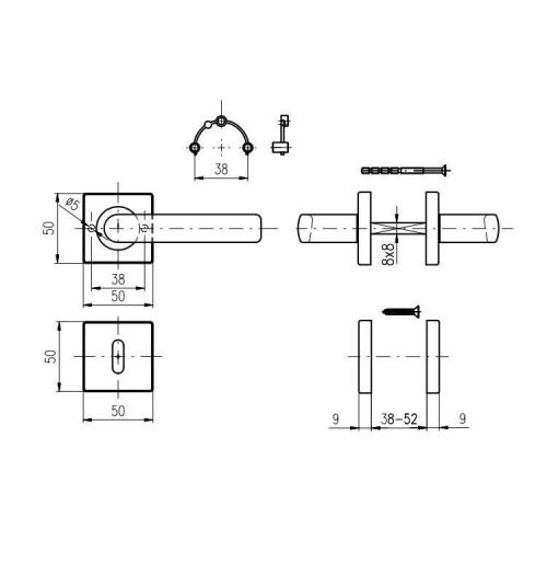 Dveřní kování ROSTEX ALBACETE (NEREZ MAT)